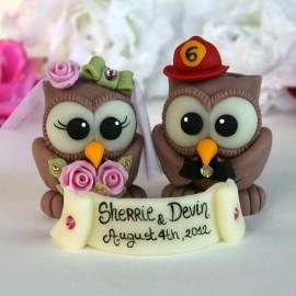 Custom Firefighter Owl Love Bird Wedding Cake Toppers
