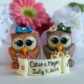 Custom Lesbian Same Sex Owl Love Bird Wedding Cake Toppers