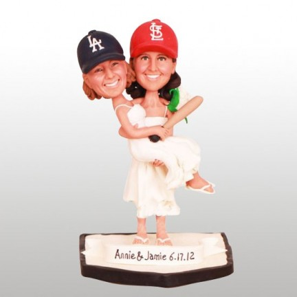 Lesbian Theme Cardinals and Dodgers Baseball Cake Toppers