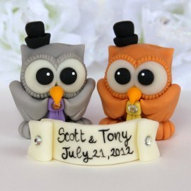 Custom Gay Same Sex Owl Love Bird Wedding Cake Toppers