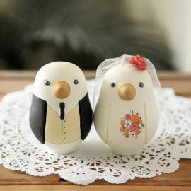 Custom Bride And Groom Love Bird Wedding Cake Toppers