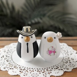 Personalised Western Cowboy Love Bird Wedding Cake Toppers