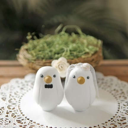 Custom Love Bird Wedding Cake Toppers