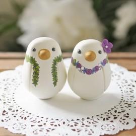 Custom Love Bird Hawaiian Wedding Cake Toppers