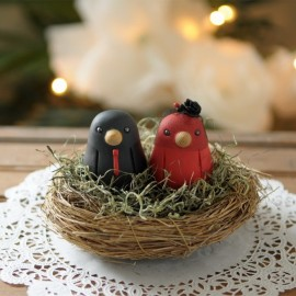 Custom Love Bird Ethnic Wedding Cake Toppers
