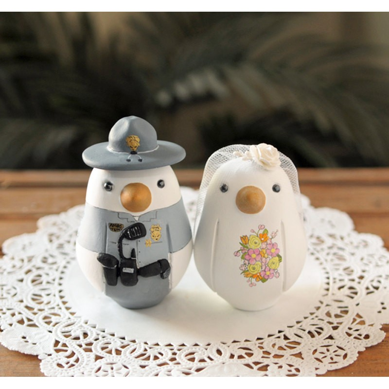 Unique Law Enforcement Military Love Bird Wedding Cake Toppers
