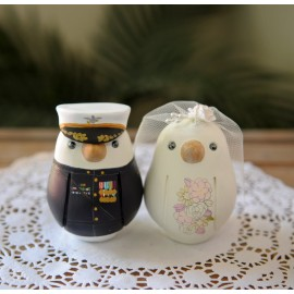 Unique Marine Military Love Bird Wedding Cake Toppers