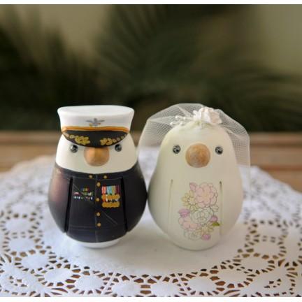 Unique Marine Military Love Bird Wedding Cake Toppers