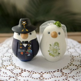 Unique Bride And Groom Military Love Bird Wedding Cake Toppers