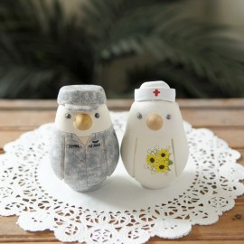 Unique Bride And Groom Love Bird Military Wedding Cake Toppers