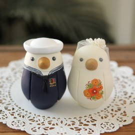 Unique Bride And Groom Navy Military Love Bird Wedding Cake Toppers