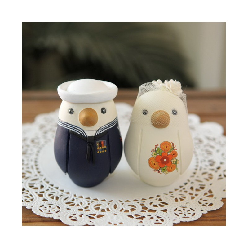 unique and groom navy bird wedding cake toppers