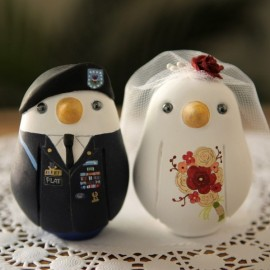 Unique Military Love Bird Wedding Cake Toppers