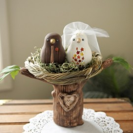 Custom Ethnic Love Bird Wedding Cake Toppers