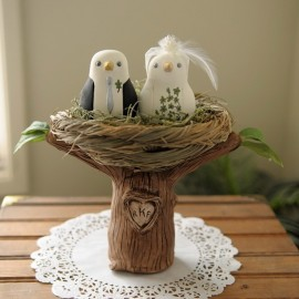 Personalised Love Bird Wedding Cake Toppers