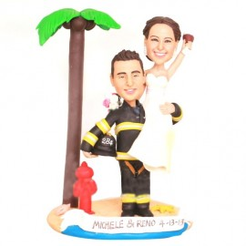 Firefighter Beach Themed Wedding Cake Toppers