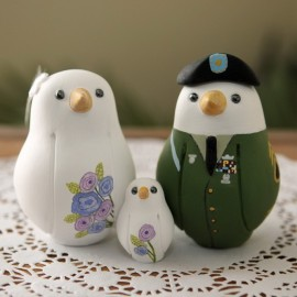 Personalised Military Love Bird Wedding Cake Toppers With A Kid