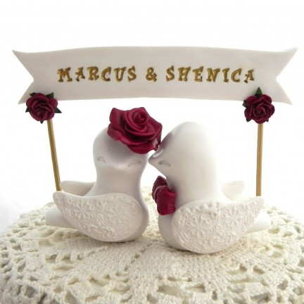 Personalized Love Bird Wedding Cake Toppers With A Banner