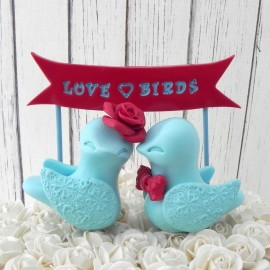 Personalized Blue Love Bird Wedding Cake Toppers With A Banner