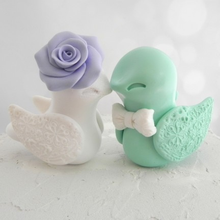 Personalized White And Mint Green Love Bird Wedding Cake Toppers