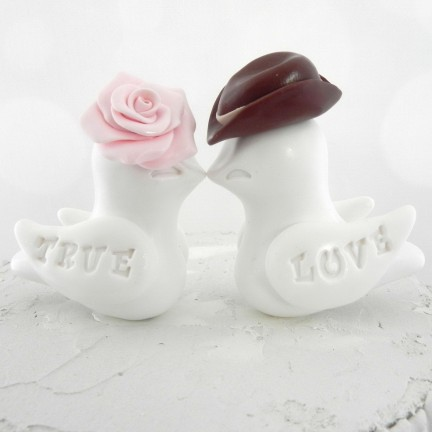 Custom Western Cowboy Country Love Bird Wedding Cake Toppers