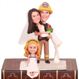 Firefighter Wedding Cake Toppers With A Kid