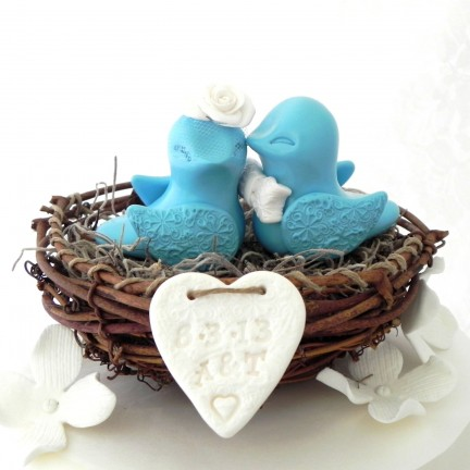 Custom Country Love Bird Wedding Cake Toppers