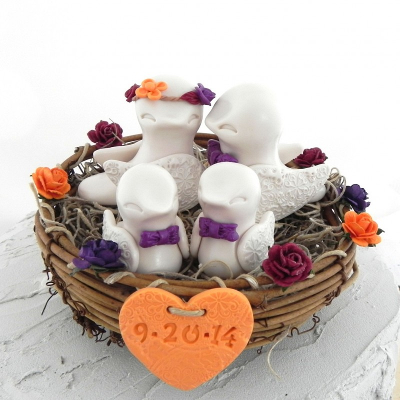 Custom Country Love Bird Wedding Cake Toppers With Two Kids