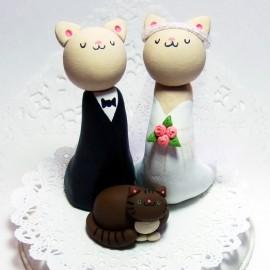 Custom Cat Family Wedding Cake Toppers