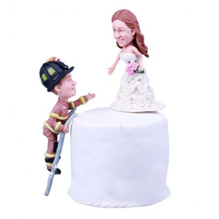 Firefighter Climbing Ladder to Save Bride Wedding Cake Toppers