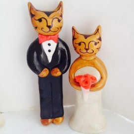 Custom Cat Bride And Groom Wedding Cake Toppers