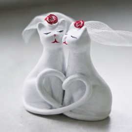 Custom Lesbian Cat Bride And Groom Wedding Cake Toppers
