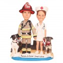 Firefighter Nurse And Dogs Wedding Cake Toppers