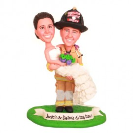 Firefighter Carry Bride Wedding Cake Toppers