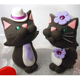 Funny Black Cat Wedding Cake Toppers