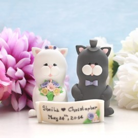 Funny Black And White Cat Wedding Cake Toppers With A Banner