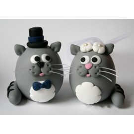 Custom Cat Wedding Cake Toppers With A Banner