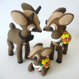 Custom Deer Family Wedding Cake Toppers