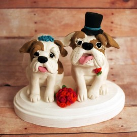 Personalized Dog Wedding Cake Topper with Veil and Top Hat