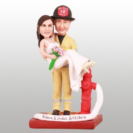 Firefighter Holding The Bride Wedding Cake Toppers