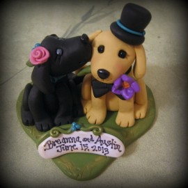 Custom Dog Wedding Cake Toppers