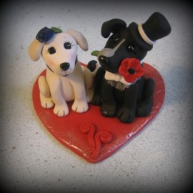 Custom Dog Wedding Cake Toppers With Heart Base