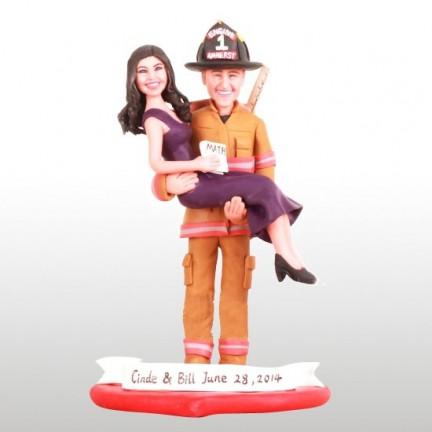 Math Teacher and Firefighter Wedding Cake Toppers