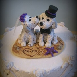 Personalized Dog Beach Themed Wedding Cake Toppers