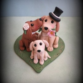 Personalized Dog Family Wedding Cake Toppers