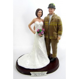 Firefighter Hold The Bride Wedding Cake Toppers