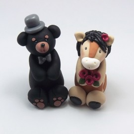 Personalized Black Bear And Browm Horse Wedding Cake Toppers