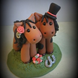 Personalized Horse Anniversary Wedding Cake Toppers