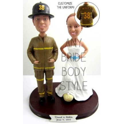 Fireghter Wedding Cake Toppers