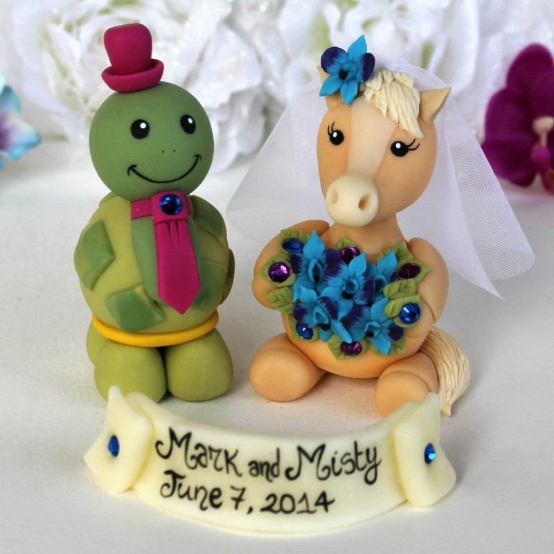 Personalized Horse And Turtle Wedding Cake Toppers